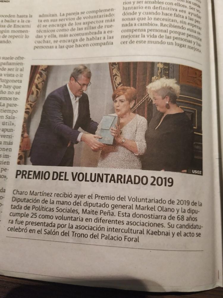 Charo Martínez, Dama Salesiana, Premio Voluntariado 2019 de Guipúzcoa