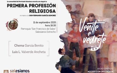 Primera Profesión Religiosa como salesianos de Luis Valverde y Chema García